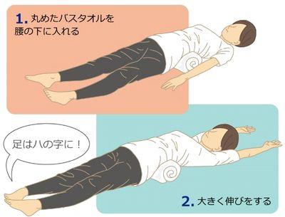 バスタオル 腰痛